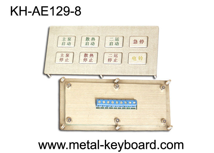 Ruggedized Metal Kiosk Keyboard , Industrial Input waterproof keypad 8 Functional Keys