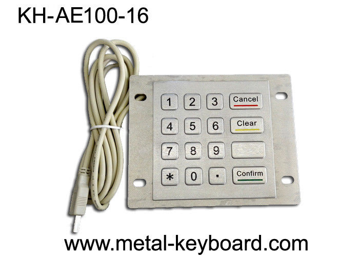 Dustproof USB Port Industrial Stainless Steel Keypad Metal With 16 Flat Keys